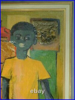 Jose Luis Figueroa Oil Painting Collage 1960s Young Black Man Portrait Vintage