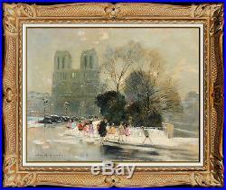 Jules R. Herve Original Painting Oil On Canvas Paris Cityscape Norte Dame Signed