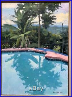 KEN HOWARD ORIGINAL OIL on CANVAS Cannes Swimming Pool NOT a PRINT