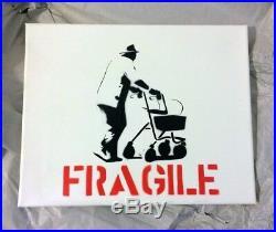 Kunstrasen'Fragile' Original Canvas Stencil Art Signed Urban Street Art