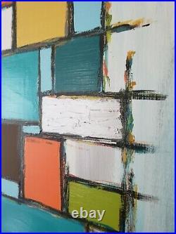 LARGE Mid Century Modern Abstract Art Acrylic Painting Yellow Blue Orange Green