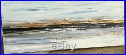 LARGE ORIGINAL SEASCAPE ART ABSTRACT MODERN ACRYLIC PAINTING 100x40cm canvas