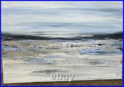 LARGE ORIGINAL SEASCAPE ART ABSTRACT MODERN ACRYLIC PAINTING 75x50cm canvas