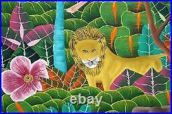 LESLY PIERRE-Haitian Artist-Large Original Signed Oil-Animals & Jungle