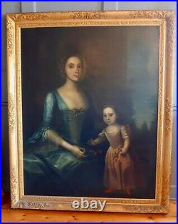 Large 18th Century British Oil on Canvas Double Portrait of Mother & Child