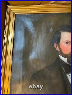 Large Antique Formal Portrait Of A Seated Gentleman Scene Oil Painting -Framed