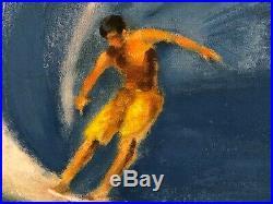 Large Framed Original Painting on Canvas Surfer Surfing Coastal Ocean Wave