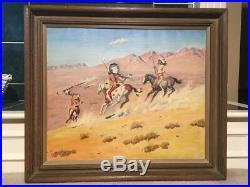 Large Leonard H. Reedy Western Original Oil on Canvas Painting, 36 1/2 x 32