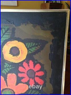 Large MCM Hollywood Regency 1970's Floral Painting by Lee Reynolds Signed