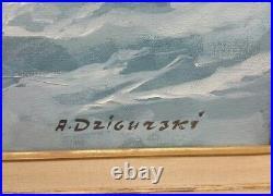 Large Oil on Canvas by Alexander Dzigurski Marine Seascape Art Painting 48x24