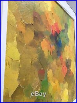 Large Original Abstract Painting Mid Century Modern Art Oil On Canvas Wood Frame