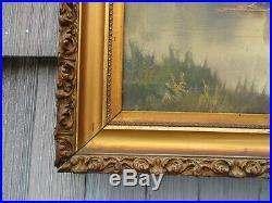 Large Original Framed Antique Framed Oil on Canvas Hudson Landscape Painting