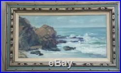 Large Original Oil On Canvas Hawaiian Seascape Painting In Vintage Wood Frame