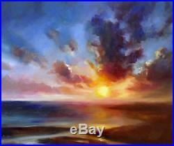 Large Original Oil Painting, Fall, Beach, Ocean, Sea 60x50cm on Canvas