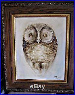 Large Original Ozz Franca Owl Oil Painting on Canvas, Framed Under Glass