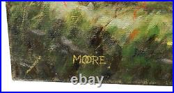 Large Texas Hill Country Bluebonnets Oak Trees Landscape Oil Painting By Moore