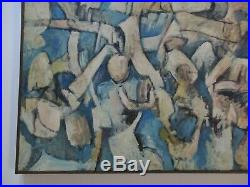 Large Vintage Blue Cubist Cubism Painting Abstract Expressionism 1960's Modern