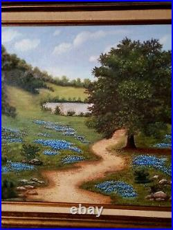 Large Vintage Oil Painting-Bluebonnets-Country Landscape