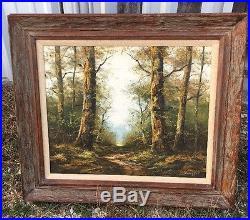 Large Vintage Original Signed Wollinger Landscape Oil Painting On Canvas
