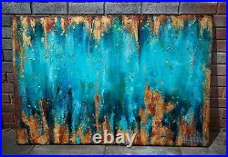 Large abstract painting original on canvas texture acrylic Green Copper custom