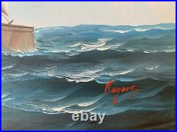 Large oil painting on canvas, seascape, Sailing ship, Signed Rogers, Framed