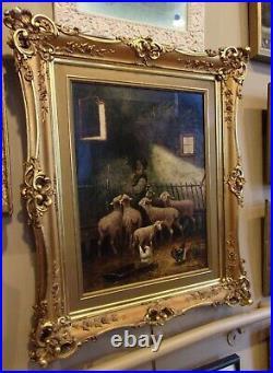 Late 1800s Feeding Sheep Birds Farm Barn Animals Oil Painting Antique Estate Art