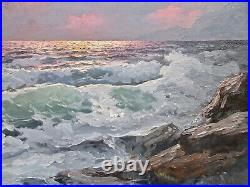 Listed Artist Alex Dzigurski (1911-1995) Large Nocturnal Oil Seascape Painting