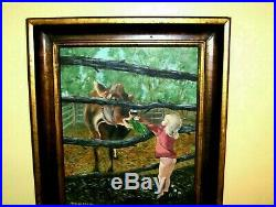 Lovely Farm Girl Feeding a Cow VINTAGE ORIGINAL Signed Oil on Canvas Painting