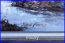MARIE CHARLOT Vintage Oil on Canvas Original Painting Large Framed Landscape