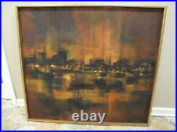 MID-CENTURY MODERN Abstract Oil Painting on Canvas Amer. Elizabeth P. Welsh 1961