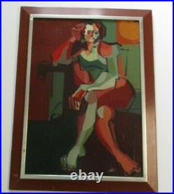 MID Century Modernism Painting Female Woman Abstract Nude Model Cubist Cubism