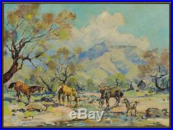 Marjorie Reed Original Oil Painting On Canvas Signed Western Landscape Horse Art