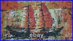 Mid Century Modern Vtg Impressionist Textured Brutalist Sailboat Painting Art