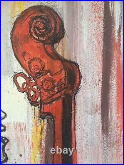 Mid Century Oil Painting Signed, Vintage Jazzy African American Cool Music Man