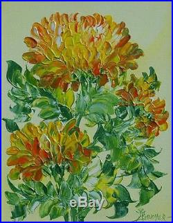 Mid Century Original Impasto Oil On Canvas With Chrysanthemums J. Allen Boucher