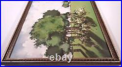 Mid-century Modern Painting Trees Landscape Signed 1971 Lee Reynolds Era