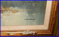 Moncrief Original Oil On Canvas River Landscape Painting Paris Artist