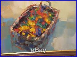 NICOLA SIMBARI Original Oil Painting on Canvas Flowers 21x32 Palette Knife