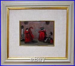 NINO CAFFE Signed 1969 Original Oil on Canvas Painting Libera Uscita