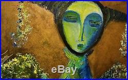 Nadia Volna-Untitled-Framed Original Acrylic Painting on Canvas-List $4,750
