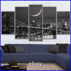 New York City Night Bridge 5 Pieces canvas Wall Art Poster Picture Home Decor