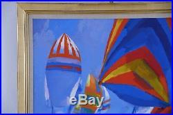 Nicola Simbari Sailboats Original Painting Oil On Canvas