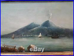 OLD ANTIQUE OIL ON CANVAS VESUVIUS VOLCANO PAINTING IN ORIGINAL FRAME 1800s 19C
