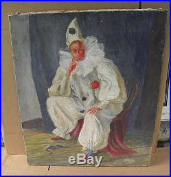 ORIGINAL 1947 Walt Kuhn Oil Painting on Canvas Sitting Clown in White Outfit