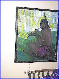 Original Indian Framed Oil On Canvas Painting By Constantine Cherkas