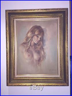 ORIGINAL LEO JANSEN Framed Signed Nude Oil On Canvas Portrait Painting Playboy