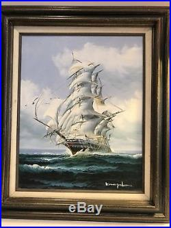 ORIGINAL OIL ON CANVAS CLIPPER SHIP AT SEA, SIGNED 23 x 28 FRAMED
