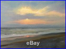 ORIGINAL OIL On canvas, Beach At Sunset, 10x 20 One Of A Kind
