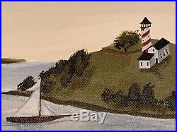 ORIGINAL Painting COASTAL COUNTRY Boats New England Debbie Criswell FOLK ART
