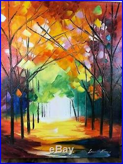 ORIGINAL with COA Authentic Leonid Afremov oil on canvas painting Signed 20x16